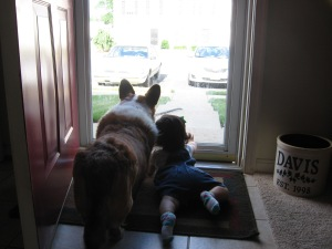 Sandie and Awstin waiting for Dad to come home
