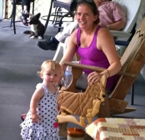 This just has CUTE everywhere. Little Camille and mom Holly showing off a raffle item they won.